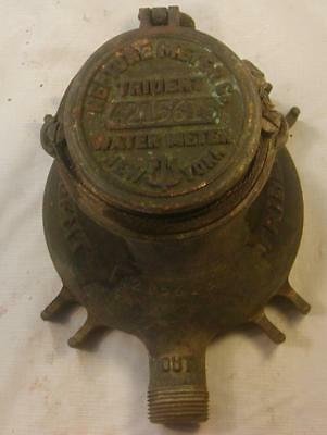 "Vintage Neptune Trident New York Water Meter 7 1/4"" Tall 3/4"" Brass 4215618"