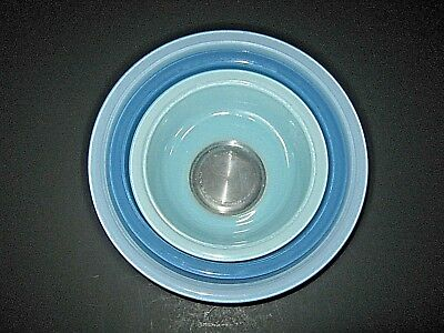 Vintage Blue Pyrex Clear Bottom Ombre Nesting Bowls Robin's Egg Set 3 Mixing