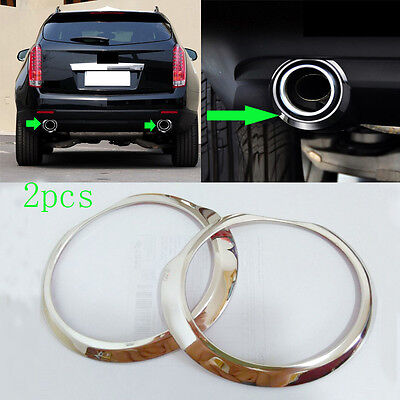2Pcs 304 Stainless Rear Decorative Tail Throat TRIMS For Cadillac SRX 2010-2015