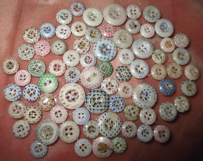 Lotof 70+  Antique China Calico Buttons - Various Colors Designs & Sizes