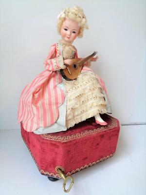 French Automaton Mechanical Doll Windup Fashion w/Mandolin WORKS Antique Musical