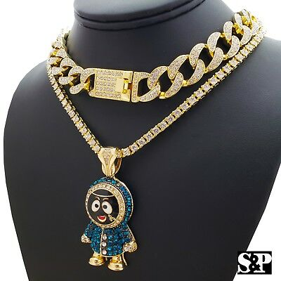 "Hip Hop Crazy Clown Pendant /& 18/"" Full Iced Cuban /& 1 Row Diamond Choker Chain"