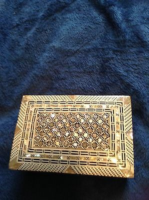 Old Wooden Box With Decorative Shell Mosaic Inlay Design