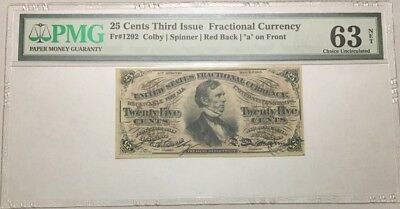 25 Cents Fractional Currency Third Issue Pmg Choice Uncirculated 63 Net Fr-1292