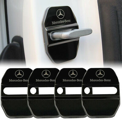 Stainless Steel Car Door Lock Ring Protective Cover For Mercedes Benz-Black