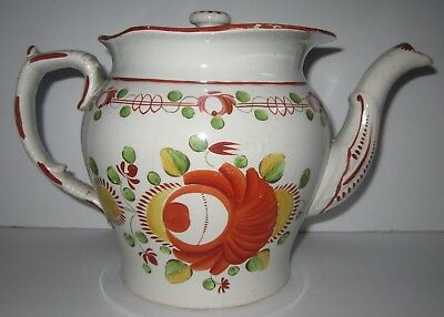 Early 19th C Antique Gaudy Dutch Kings Rose Soft Paste English Pearlware TEAPOT