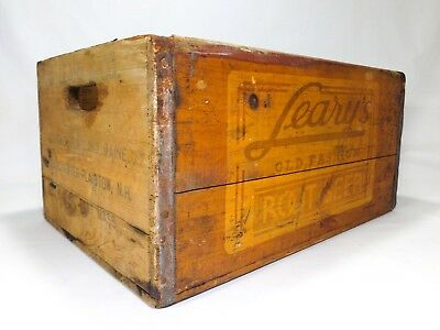 Early 20Th C Vint Leary's Old Fashioned Root Beer Wooden Box Crate W/tin Corners
