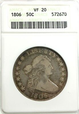 1806  FLOWING HAIR 50C,  ANACS  VF 20 Knobbed-Top 6, Lg Stars, Branch Stem, Claw