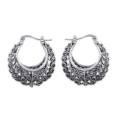 Retro Vintage Antique Silver Hollow Out Filigree Round Hoop Earrings For Women