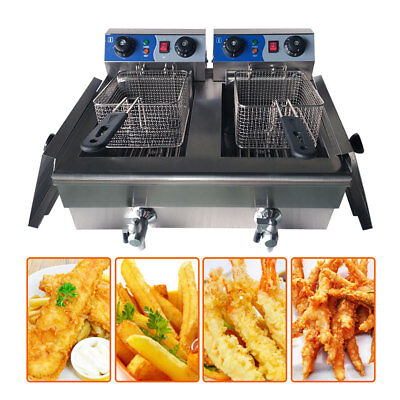 20L Commercial Electric Deep Fryer Twin Frying Basket Chip Cooker Fry w/ Timer