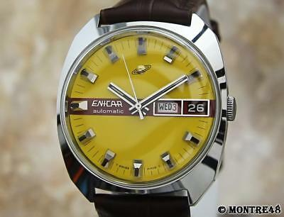 Enicar Swiss Made 1970s Mens Day Date Automatic Stainless St Vintage Watch MY109