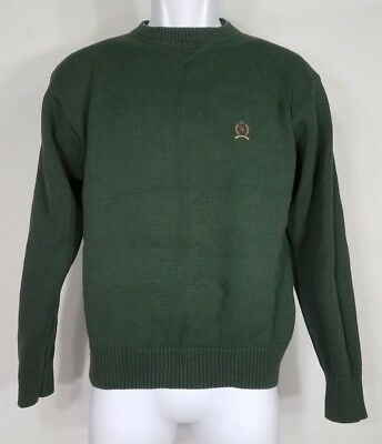 VTG Tommy Hilfiger hunter green crew neck embroidered crest sweater boys Large