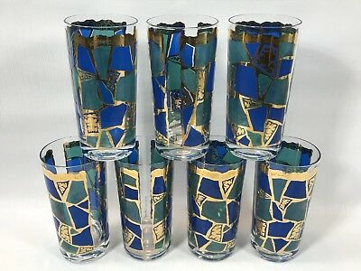 Vintage MCM Georges Briard Gold Accent Europa Pattern Highball Glasses Set Of 7