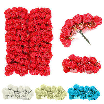 144 Pcs Mini Foam Artificial Fake Rose Flowers Bride Bouquet Wedding Party Decor