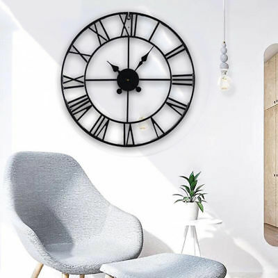 Skeleton Garden Wall Clock Big Roman Numerals Large Open Face Metal Round Black