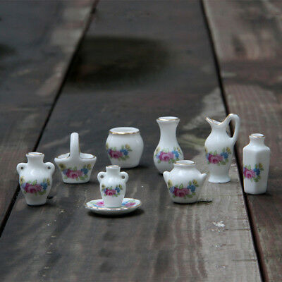 9 PCS Dollhouse Miniature Tea Set Ceramic Porcelain Dish/Cup/Plate Blue Flower