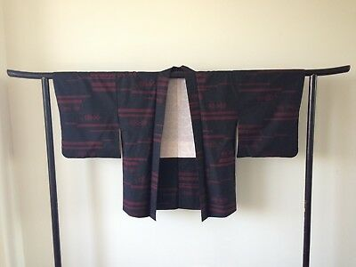 Black and Red Vintage Silk Japanese Haori Jacket Hand One of a Kind Kimono