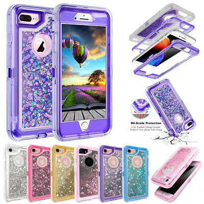 Full Shockproof Glitter Liquid Bling Quicksand Case Cover for iPhone X/8/7/6 Pus