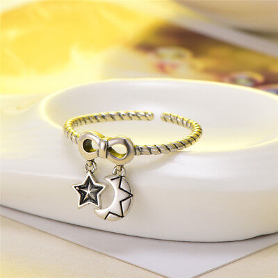 Vintage S925 Sterling Silver Adjustable Open Ring Butterfly Star Moon Rings Gift