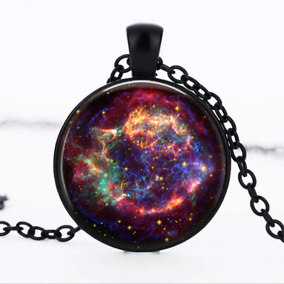 Casseopeia Nebula Black Glass Cabochon Necklace chain Pendant Wholesale