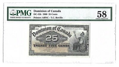 1900 Dominion Of Canada 25 Cents Boville AU58 PMG **TREND 380$**