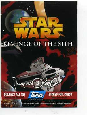 STAR WARS  REVENGE OF THE SITH ETCHED FOIL CARD No. 3