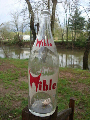Vintage MidC 1960s 1970s Wible Soda Pop Quart Bottle Three Springs PA Glass Old