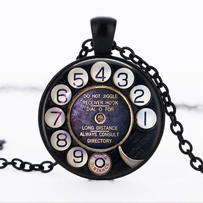 Telephone Dial Black Glass Cabochon Necklace chain Pendant Wholesale