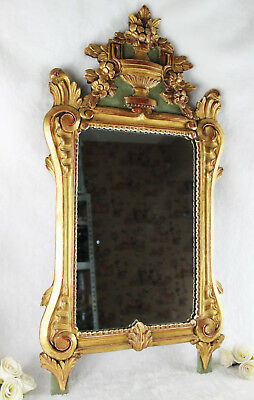 Gorgeous French Antique Louis XVI wood carved Mirror 1920 flower basket