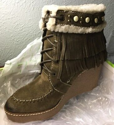 b55524777585f NEW SAM EDELMAN Kemper Fringe Suede Leather Ankle Booties Womens 8.5 ...