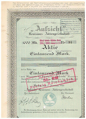'Aufsicht' Revisions-AG, Berlin 1916, 1000 Mark