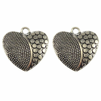 Pack of 30 Vintage Silver Engraved Heart Shaped Alloy Pendants Charms 20x18 MM