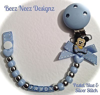 ❤ PERSONALISED - Your Name  Choice ❤ DUMMY CLIP ❤ Blue Baby Mickey ❤