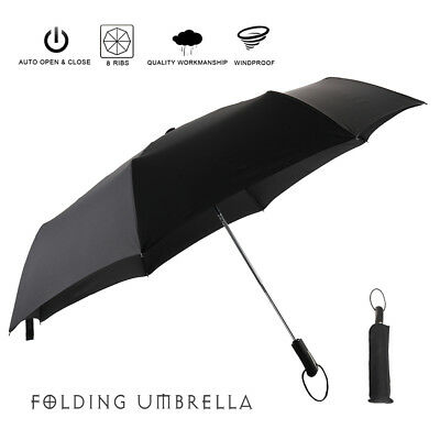 Black Strong Windproof Umbrella Automatic Open/Close Folding Double Canopy AU