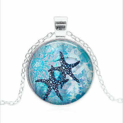 Starfish Garden Tibet silver Glass dome Necklace chain Pendant Wholesale