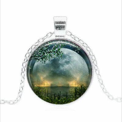 Summer Solstice Tibet silver Glass dome Necklace chain Pendant Wholesale