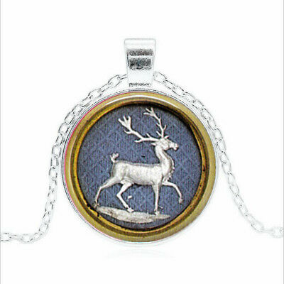 Stag Deer Elk Tibet silver Glass dome Necklace chain Pendant Wholesale