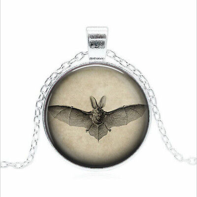 Black Bat from Tibet silver Glass dome Necklace chain Pendant Wholesale