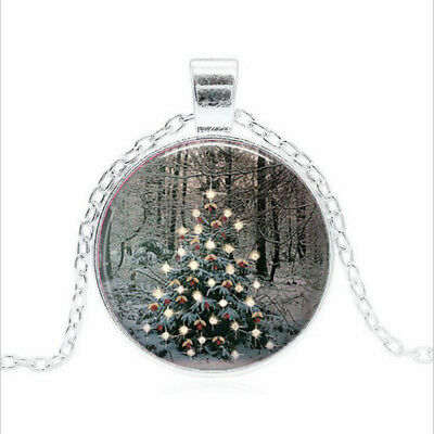Forest Christmas Tree Tibet silver Glass dome Necklace chain Pendant Wholesale