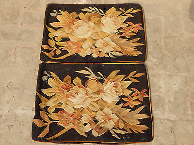 2 X Antique French 19thC Hand Woven Aubusson Flowers Cushion 58X40cm (A1318)
