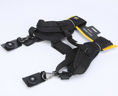 Quick Release Dual-shoulder -Black Double Shoulder Sling Belt Rapid Camera Strap