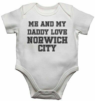 Me and My Daddy Love Norwich City, for Football Soccer Fans Baby Vests Bodysuits