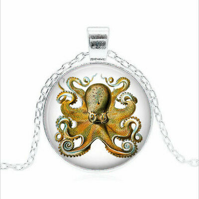 OCTOPUS by Ernst Tibet silver Glass dome Necklace chain Pendant Wholesale
