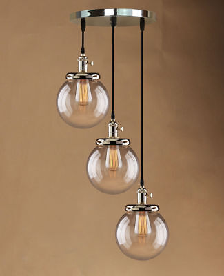 Vintage Cluster Globe 3 Lights chandelier Ceiling Lamp Clear Glass Pendant Light