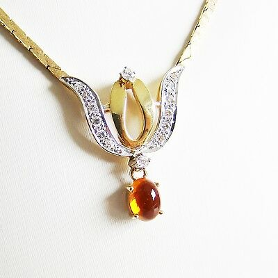 Collier Gold 585er Brillanten Citrin Halskette 14 kt. Diamant Goldschmuck Damen
