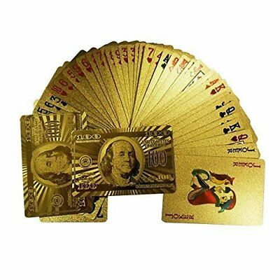 Classic Waterproof 24K Gold Foil Plated Cover Poker 54 Playing Cards Dollars