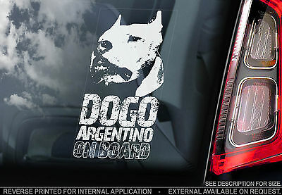 Dogo Argentino - Car Window Sticker - Dog on Board Argentine Mastiff Sign - TYP2