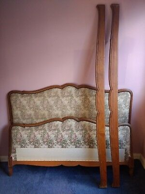 Antique Vintage French Upholstered Double Bed Frame **INCLUDES BED SLATS**
