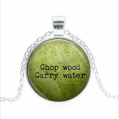 Chop Wood Carry Water Tibet silver Glass dome Necklace chain Pendant Wholesale
