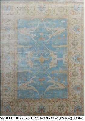 INDIAN HAND KNOTTED 12x15 365x460 OUSHAK PERSIAN ORIENTAL AREA RUG WOOL CARPET